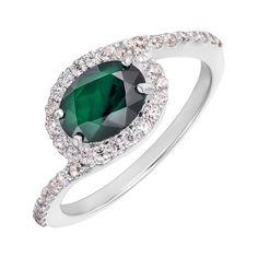 Серебряное кольцо с изумрудом и фианитами 000144887 18.5 размера от Zlato