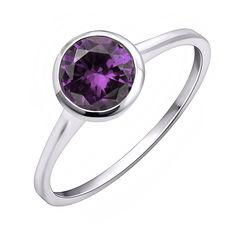 Серебряное кольцо с аметистом 000144876 16 размера от Zlato