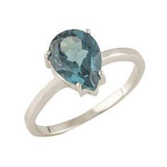 Акция на Серебряное кольцо GS с натуральным топазом Лондон Блю (1320211) 18 размер от Allo UA