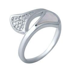 Акция на Серебряное кольцо GS с натуральным перламутром (2038221) 17.5 размер от Allo UA