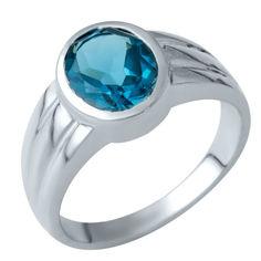 Акция на Серебряное кольцо GS с натуральным топазом Лондон Блю (1937549) 17 размер от Allo UA