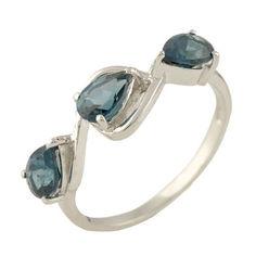 Акция на Серебряное кольцо GS с натуральным топазом Лондон Блю (1250051) 17.5 размер от Allo UA
