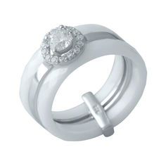 Акция на Серебряное кольцо GS с керамикой (1150566) 19 размер 6.46, 17.5 от Allo UA