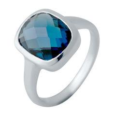 Акция на Серебряное кольцо GS с натуральным топазом Лондон Блю (2043294) 17 размер от Allo UA