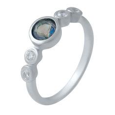 Акция на Серебряное кольцо GS с натуральным мистик топазом (2032083) 17.5 размер от Allo UA