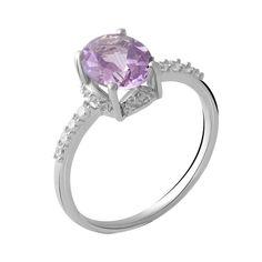 Серебряное кольцо GS с натуральным аметистом (2048930) 18 размер 2.15, 17 от Allo UA