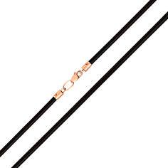 Шнурок из натуральной черной кожи с золотым замком 3 мм 000121684 50 размера от Zlato