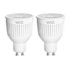 Акция на Лампа светодиодная WiZ Connected WiZ35 WiFi RGB+ССТ GU10 6W 2200К-6500К 355lm с пультом ДУ 2шт. (WZ0195082) от Allo UA