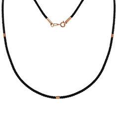 Шелковый крученый шнурок с золотыми элементами и застежкой, 2мм 000101833 50 размера от Zlato