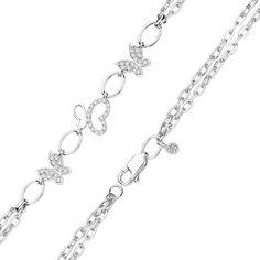 Серебряный двойной браслет с фианитами, бабочками и сердечками 000113853 18 размера от Zlato