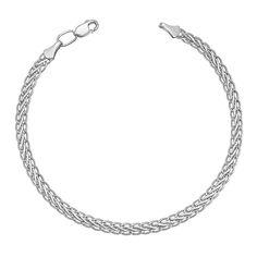 Серебряный браслет в плетении колосок 000113863, 2,5мм 16 размера от Zlato