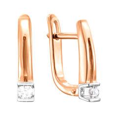 Золотые серьги в комбинированном цвете с бриллиантами 000140705 от Zlato