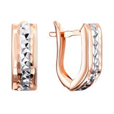 Золотые серьги в комбинированном цвете с алмазной гранью 000122948 от Zlato