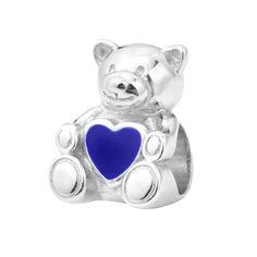 Серебряный шарм Мишка с синей эмалью 000116411 от Zlato