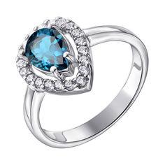 Серебряное кольцо с лондон топазом и фианитами 000137298 17 размера от Zlato