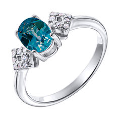 Серебряное кольцо с лондон топазом и фианитами 000137399 17.5 размера от Zlato