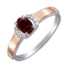 Серебряное кольцо с золотыми накладками, гранатом и фианитами 000138409 18 размера от Zlato
