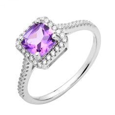 Серебряное кольцо с аметистом и фианитами 000125117 16 размера от Zlato