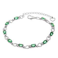Серебряный браслет с зеленым кварцем и фианитами 000067708 17 размера от Zlato