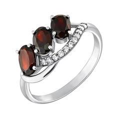 Серебряное кольцо с гранатом и фианитами 000063440 16 размера от Zlato