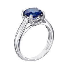 Серебряное кольцо с синтезированным сапфиром 000064391 16.5 размера от Zlato