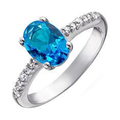Серебряное кольцо с голубым кварцем и фианитами 000064380 17.5 размера от Zlato