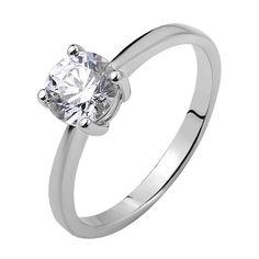 Серебряное кольцо Гармоника с белым кристаллом Swarovski в четырех крапанах 000103127 17.5 размера от Zlato
