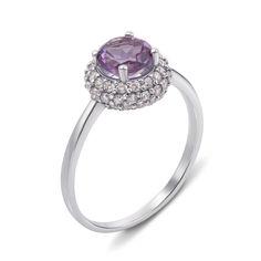 Серебряное кольцо с аметистом и фианитами 000133109 17.5 размера от Zlato