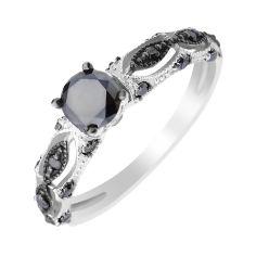 Кольцо в белом золоте с черными бриллиантами 000104133 16.5 размера от Zlato