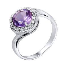 Серебряное кольцо с аметистом и фианитами 000104927 16.5 размера от Zlato