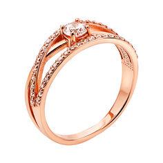 Кольцо из красного золота с фианитами 000133409 18.5 размера от Zlato