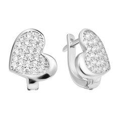 Серебряные серьги-сердца с фианитами 000106873 от Zlato
