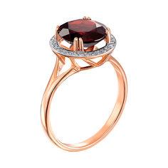 Кольцо из красного золота с гранатом и фианитами 000133431 17.5 размера от Zlato