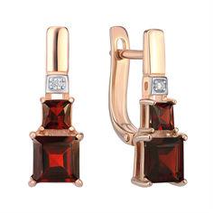 Серьги из красного золота с гранатами и цирконием 000142383 от Zlato