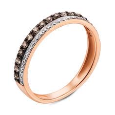 Золотое кольцо в комбинированном цвете с коньячными и белыми бриллиантами 000121437 17 размера от Zlato