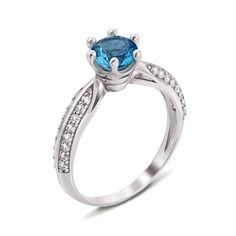 Серебряное кольцо с голубым кварцем и фианитами 000124448 16 размера от Zlato