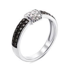Кольцо из белого золота с черными и белыми бриллиантами 000134494 17.5 размера от Zlato