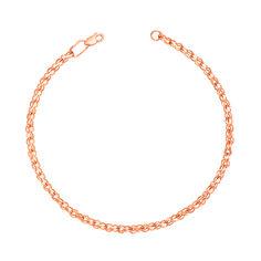 Браслет из красного золота с алмазной гранью в плетении бисмарк ручеек 000134713 19 размера от Zlato