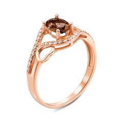 Кольцо из красного золота с раухтопазом и фианитами 000134271 18 размера от Zlato