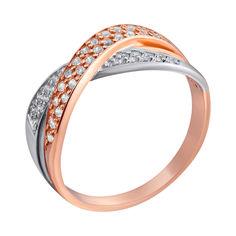 Кольцо в комбинированном цвете золота с фианитами 000000246 от Zlato