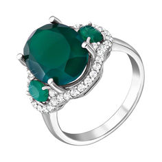 Серебряное кольцо с зеленым агатом и фианитами 000134418 17.5 размера от Zlato