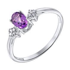Серебряное кольцо с аметистом и фианитами 000135983 от Zlato