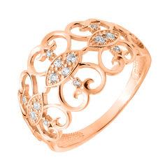 Кольцо из красного золота с фианитами 000129731 19.5 размера от Zlato