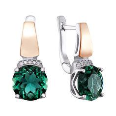 Серебряные серьги с золотыми накладками, зеленым кварцем и фианитами 000136374 от Zlato