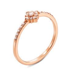 Золотое кольцо Лика в красном цвете с фианитами 16 размера от Zlato