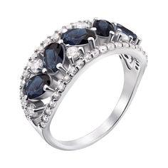 Серебряное кольцо с гидротермальными сапфирами и фианитами 000136189 16 размера от Zlato