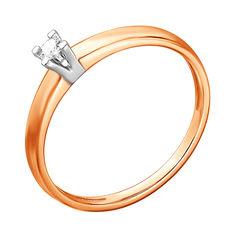 Золотое кольцо в комбинированном цвете с бриллиантом 000137340 15.5 размера от Zlato