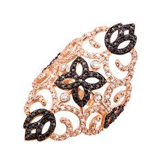 Золотое кольцо на фалангу в комбинированном цвете с черными и белыми фианитами 000122369 16 размера от Zlato