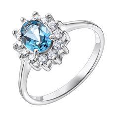 Серебряное кольцо с топазом и фианитами 000137404 17 размера от Zlato
