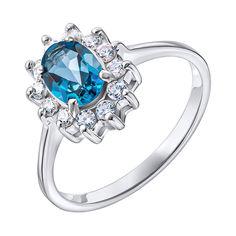 Серебряное кольцо с лондон топазом и фианитами 000137403 000137403 16.5 размера от Zlato